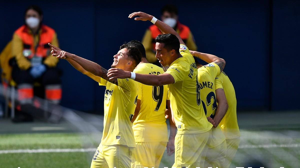 Los jugadores del Villarreal celebran el gol de Yeremi Pino ante el Getafe. (Getty)