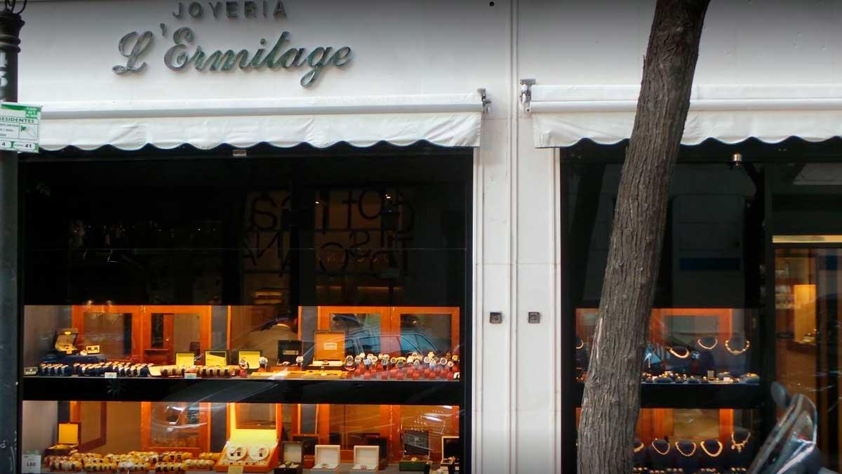 Fotografía de la joyería L'Ermitage, en la calle Ayala de Madrid, donde se ha producido un intento de atraco. Foto: EP