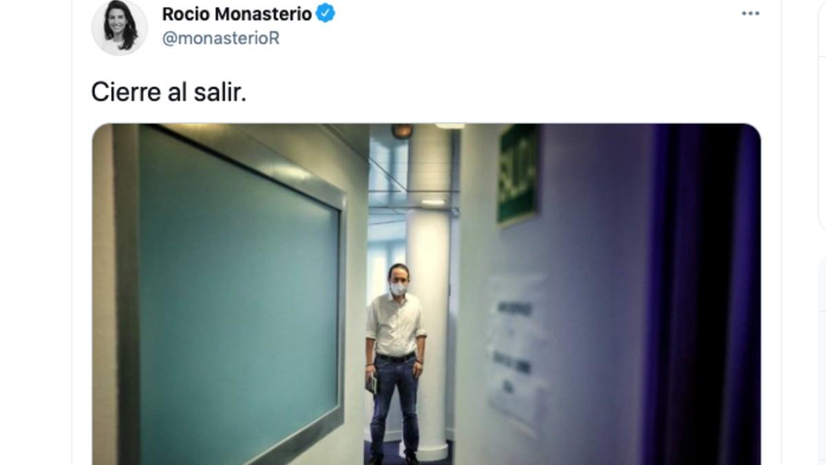 El tuit publicado por la candidata de Vox a la Presidencia de la Comunidad de Madrid, Rocío Monasterio.