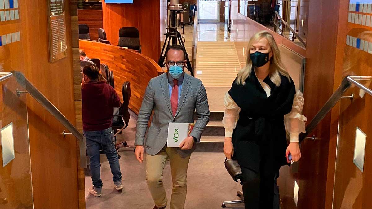 Los diputados de Vox, Ignacio Blanco y Sara Álvarez, abandonan el hemiciclo en protesta por las intervenciones en asturiano. Foto: EP