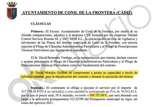 Contrato en el que David Morales figura como avalista.