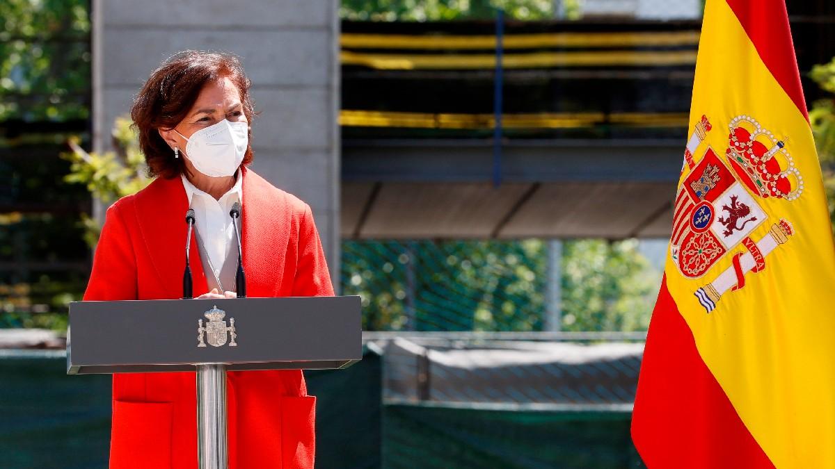La vicepresidente primera del Gobierno, Carmen Calvo, este miércoles en un acto institucional. (Foto: Efe)
