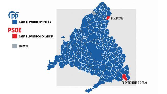 Mapa electoral de la Comunidad de Madrid.