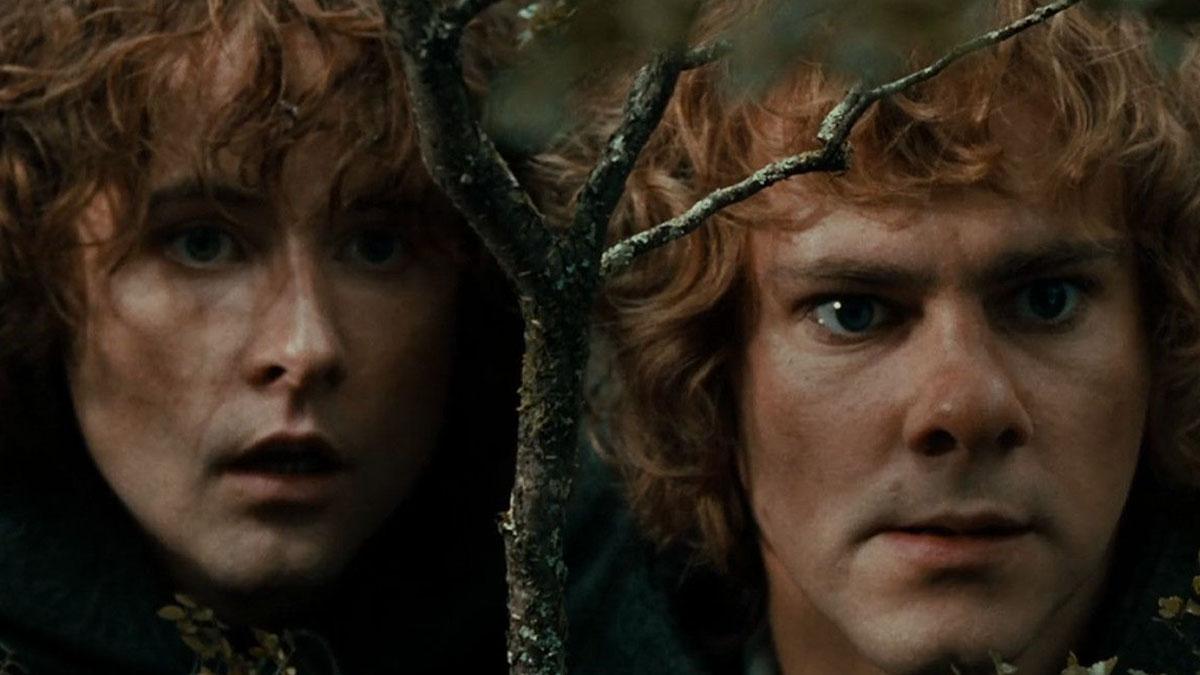Merry y Pippin en El señor de los anillos (New Line Cinema)