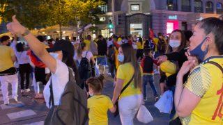Manifestación de ciudadanos colombianos en Madrid.