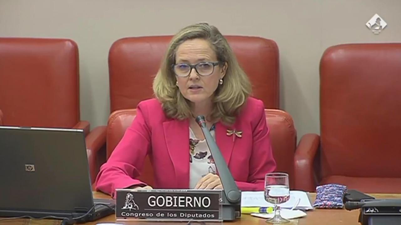La vicepresidenta segunda del Gobierno, Nadia Calviño, este jueves en el Congreso.