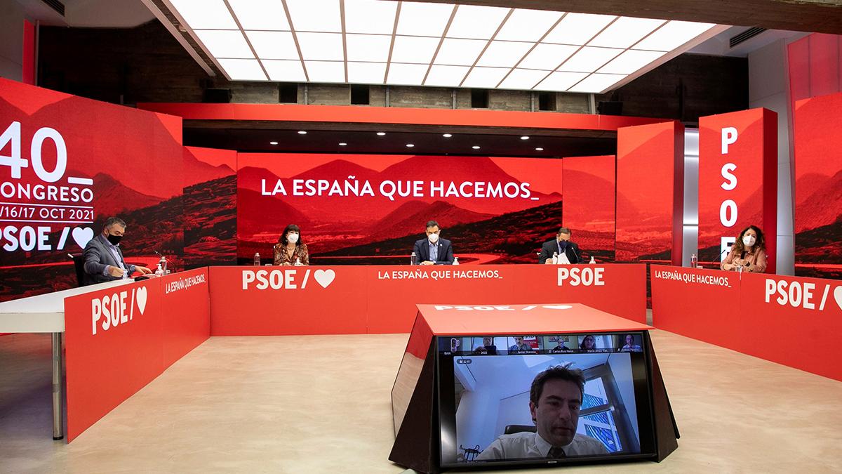 Imagen de la Ejecutiva del PSOE celebrada hoy de forma semipresencial.