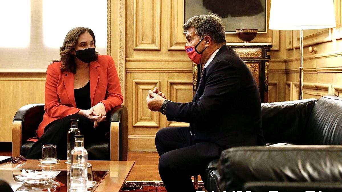 Joan Laporta, reunido con Ada Colau. (fcbarcelona.es)