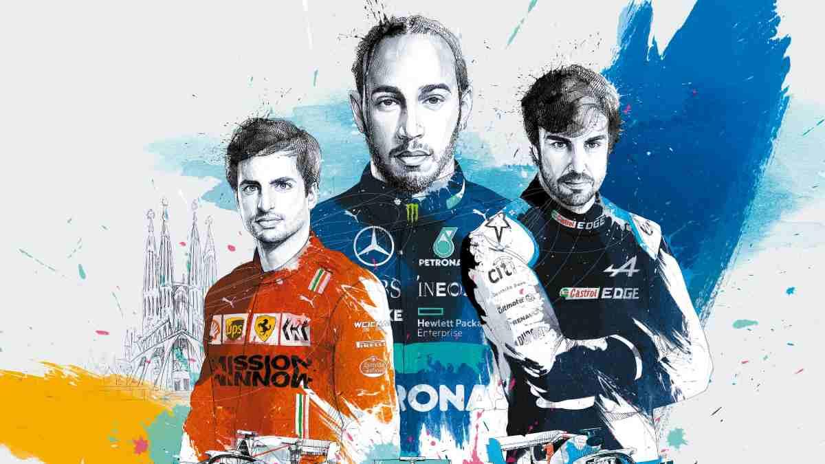 Sainz, Hamilton y Alonso en el cartel promocional del Gran Premio de España. (@Circuitcat_es)