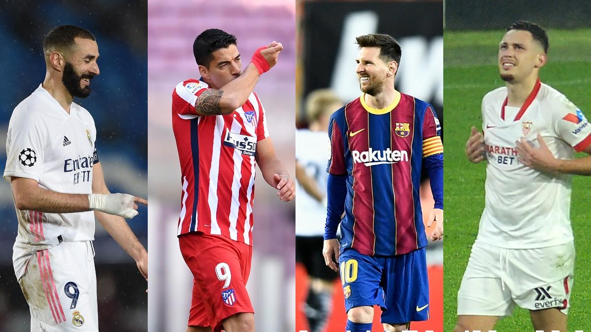 Karim Benzema, Luis Suárez, Leo Messi y Lucas Ocampos.