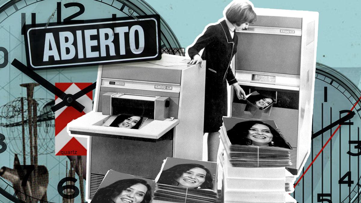 Copias de la cara de la presidenta de la Comunidad de Madrid, Isabel Díaz Ayuso.
