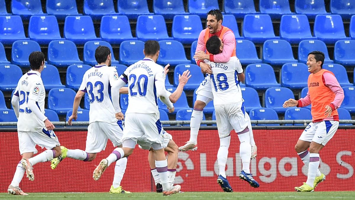 Los jugadores del Eibar celebran el gol de Recio ante el Getafe. (Getty)