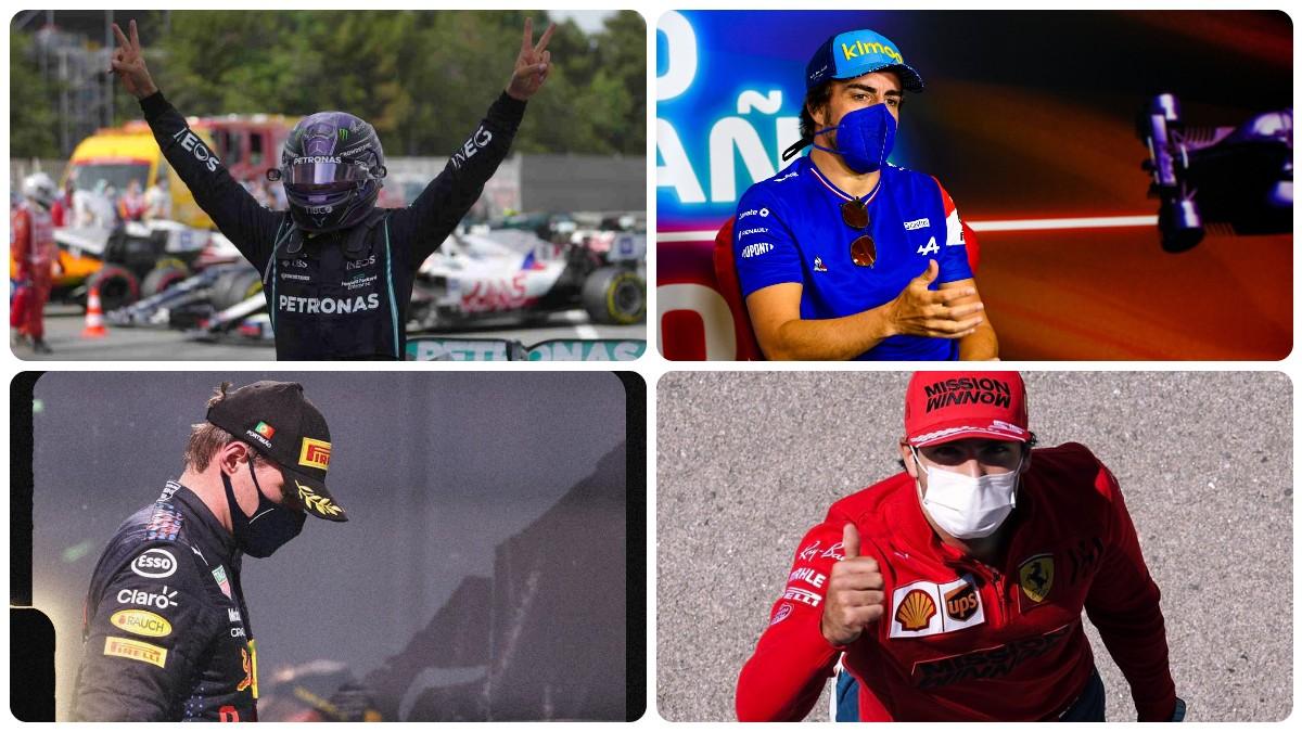 Lewis Hamilton, Fernando Alonso, Max Verstappen y Carlos Sainz.