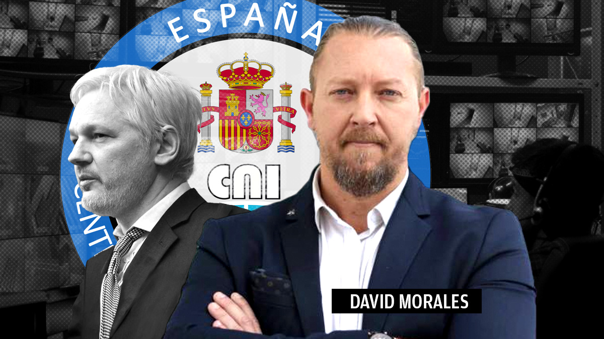 El ex militar David Morales y Julian Assange.
