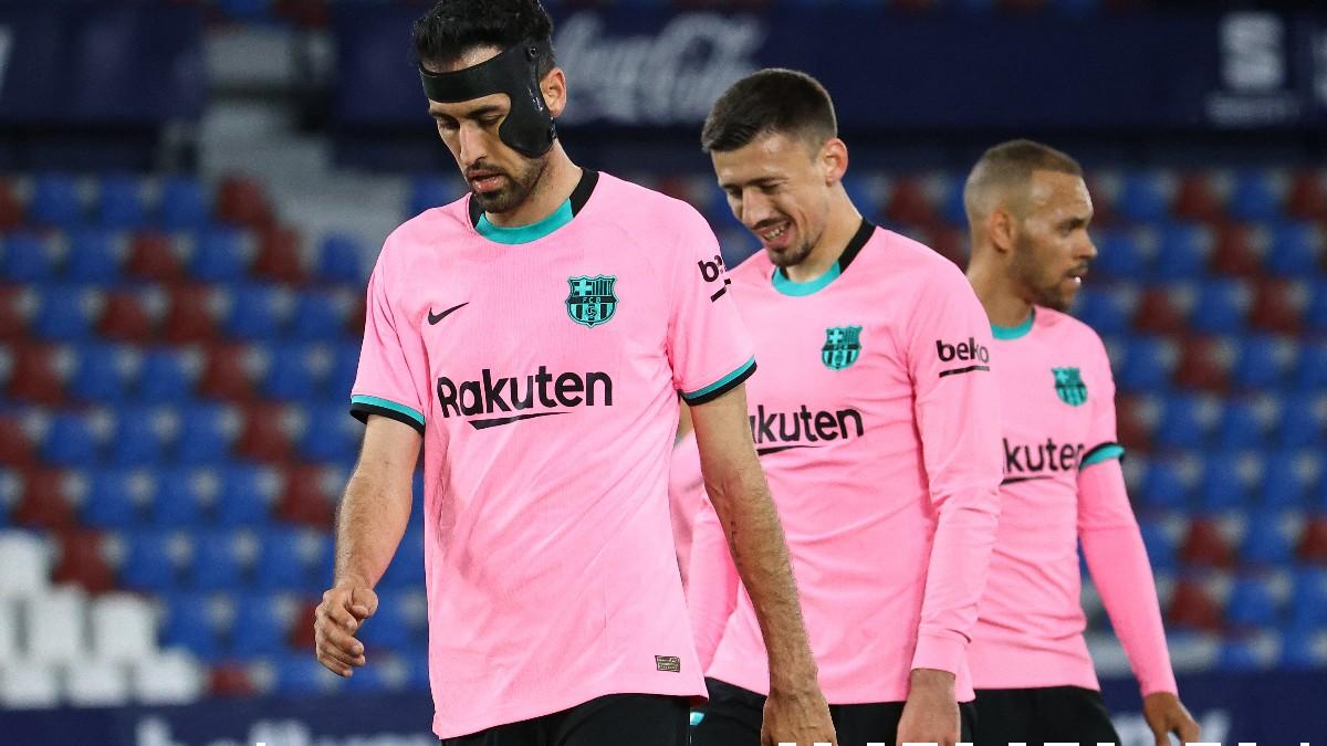 Sergio Busquets durante el Levante-Barcelona. (AFP)