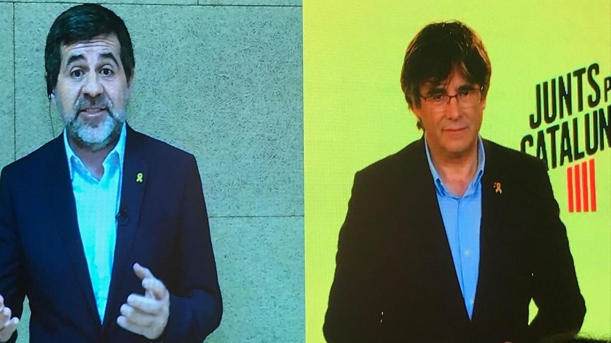 Jordi Sànchez y Carles Puigdemont. (Foto: Europa Press)
