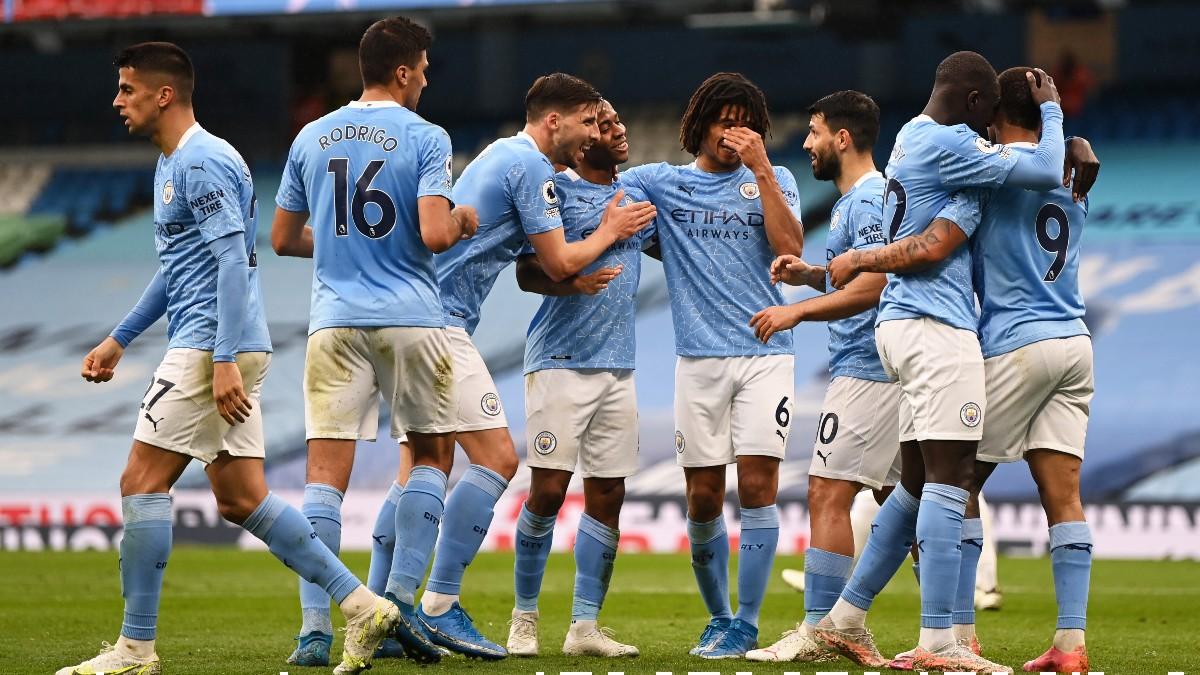 Los jugadores del Manchester City celebran un gol. (Getty)