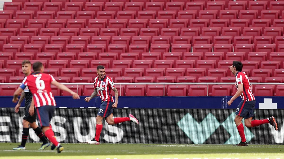 Los jugadores del Atlético celebran un gol con el Metropolitano vacío. (Getty)