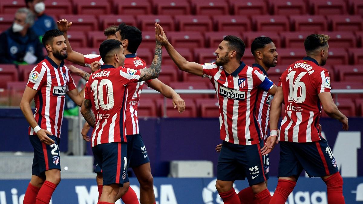 Los jugadores del Atlético celebran un gol en el Wanda Metropolitano. (AFP)