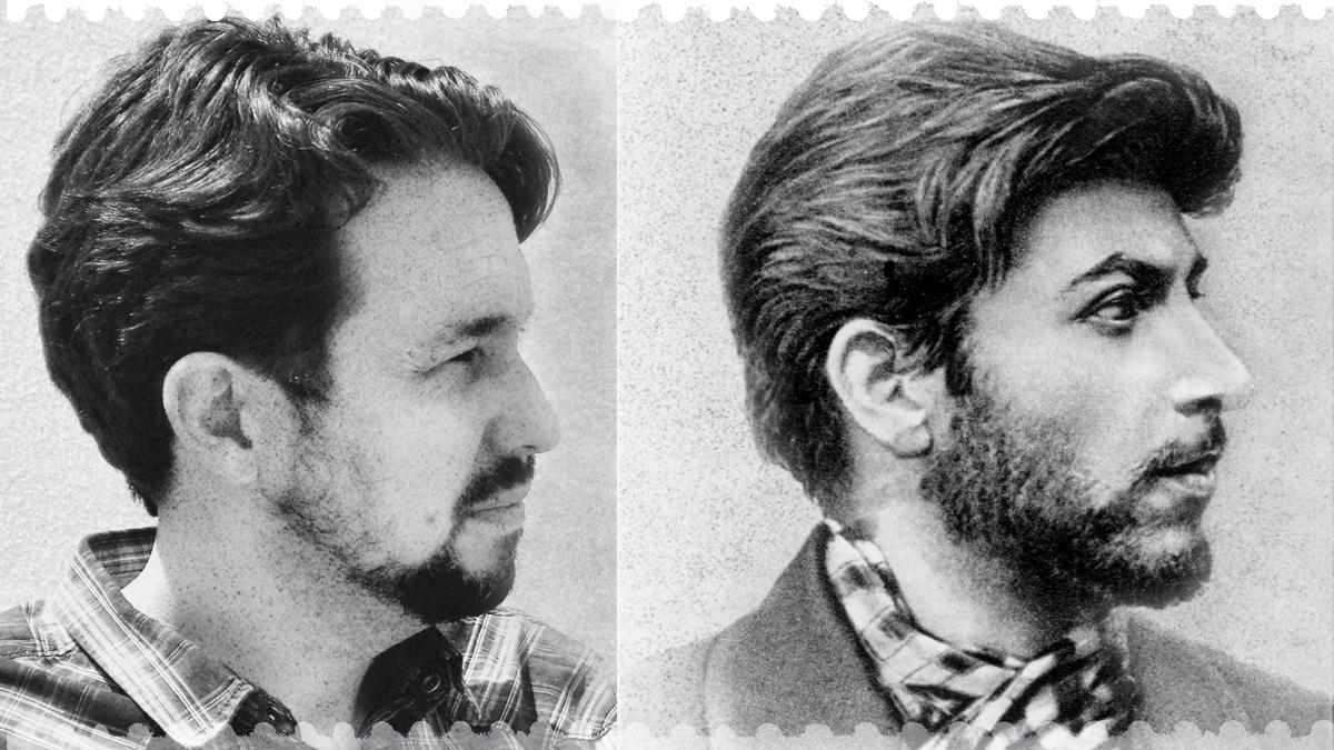 Pablo Iglesias, sin su icónica coleta, y un joven Josef Stalin. El parecido razonable es incontestable. Fotos: Daniel Gago e Ivan Vdovin)