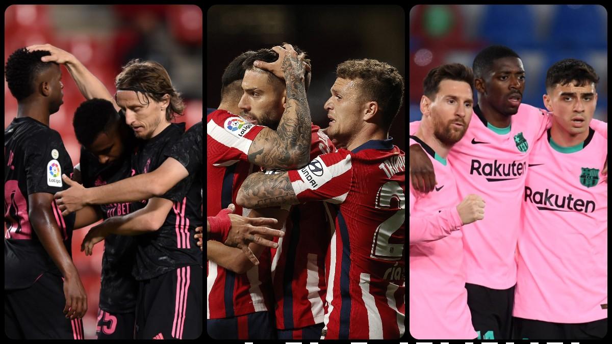 Próximos partidos del Real Madrid, Atlético y Barcelona_ así se decidirá la pelea por la Liga Santander. (Getty)