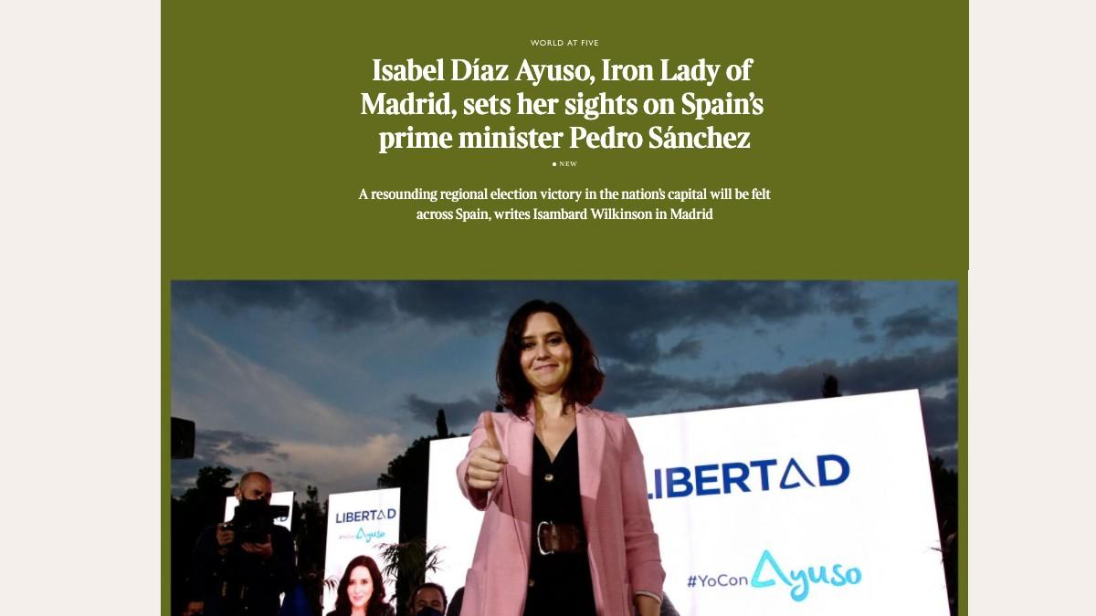 Noticia de The Times con Isabel Díaz Ayuso de protagonista.