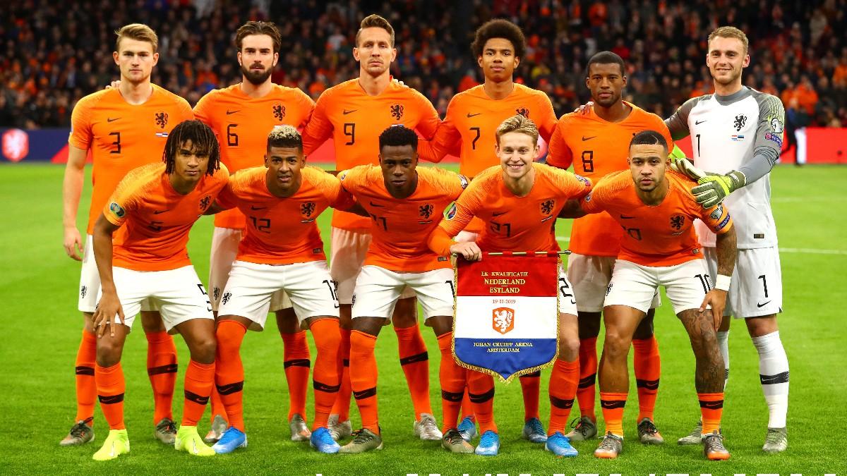 La selección de Holanda antes de jugar un partido. (Getty)