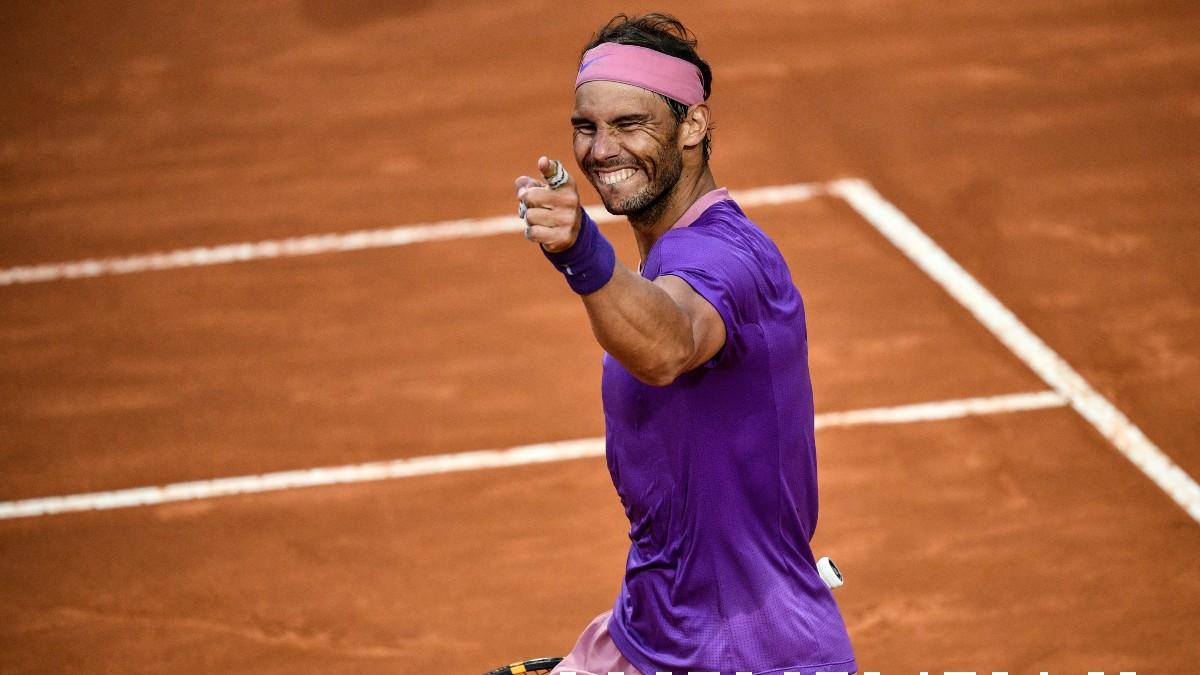 Nadal celebra en el Masters 1000 de Roma. (AFP)