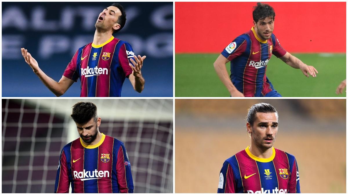 Busquets, Sergi Roberto, Piqué y Griezmann, con el Barcelona.