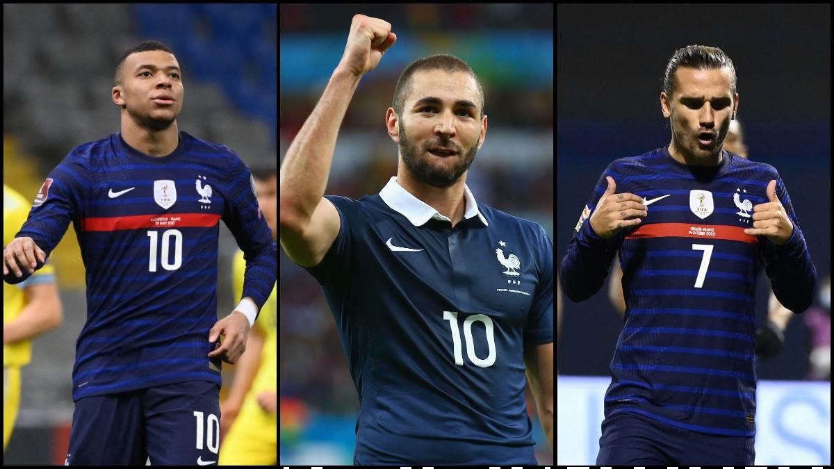 Kylian Mbappé, Karim Benzema y Antoine Griezmann, el nuevo tridente de la selección francesa. (AFP)