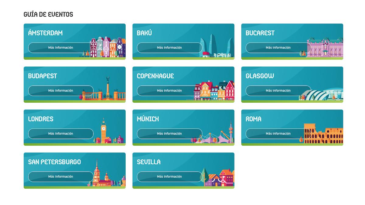 Las ilustraciones de la UEFA de las 11 sedes de la Eurocopa 2020.
