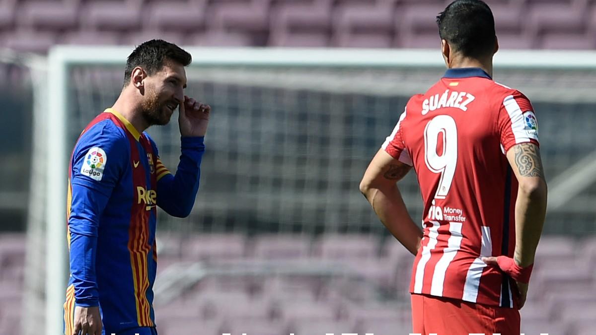 Leo Messi y Luis Suárez, durante el Barcelona-Atlético de Madrid. (AFP)