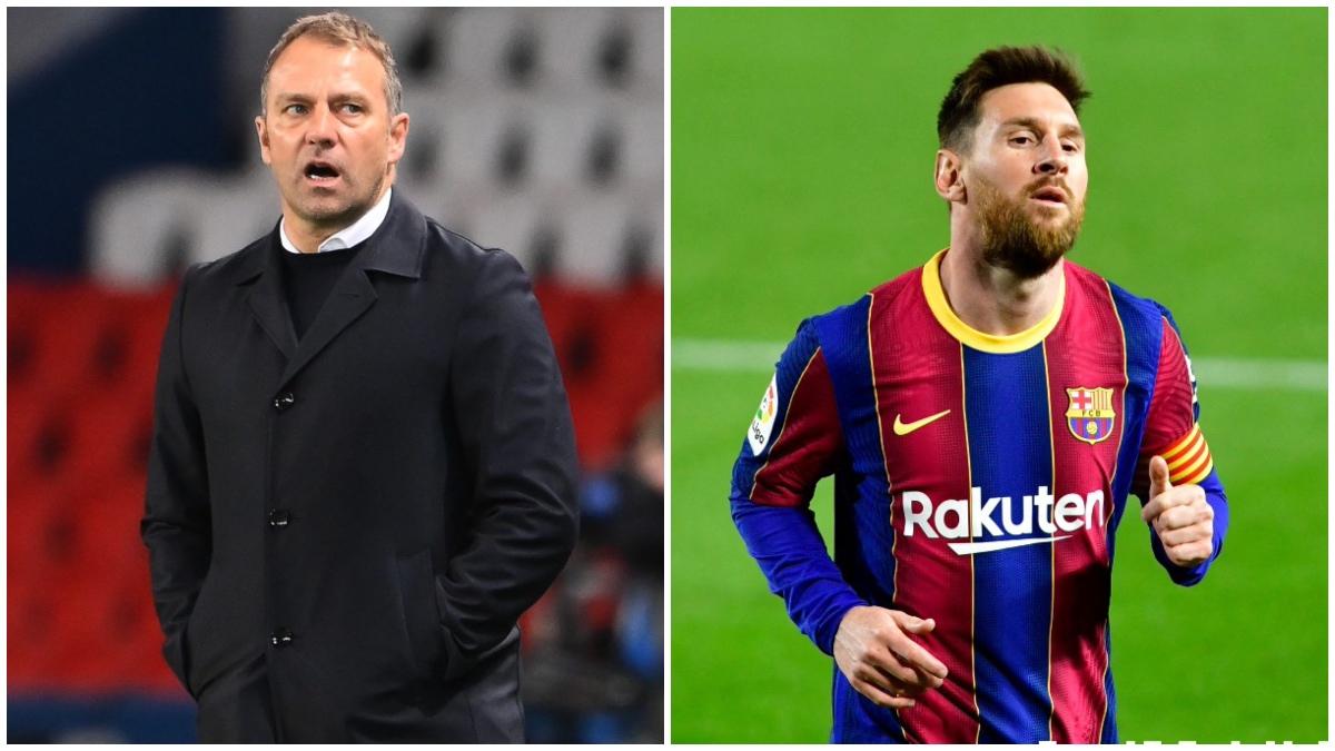 Hansi Flick, a la izquierda, y Leo Messi, a la derecha.