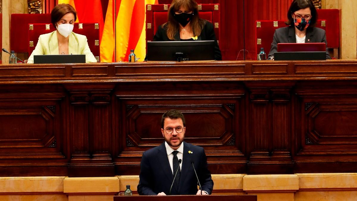 Pere Aragonès durante su investidura en el Parlament. (Foto: Europa Press)