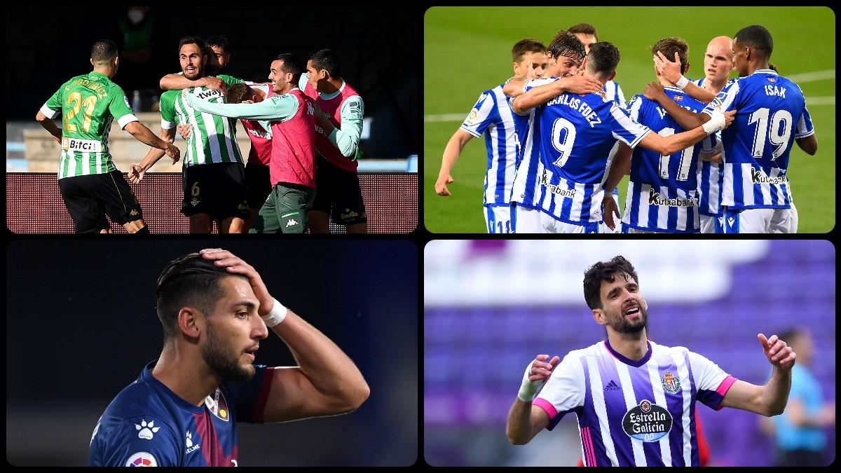 El Betis y la Real Sociedad consiguieron el billete a la Europa League y el Huesca y el Valladolid bajan a Segunda División. (Getty y AFP)