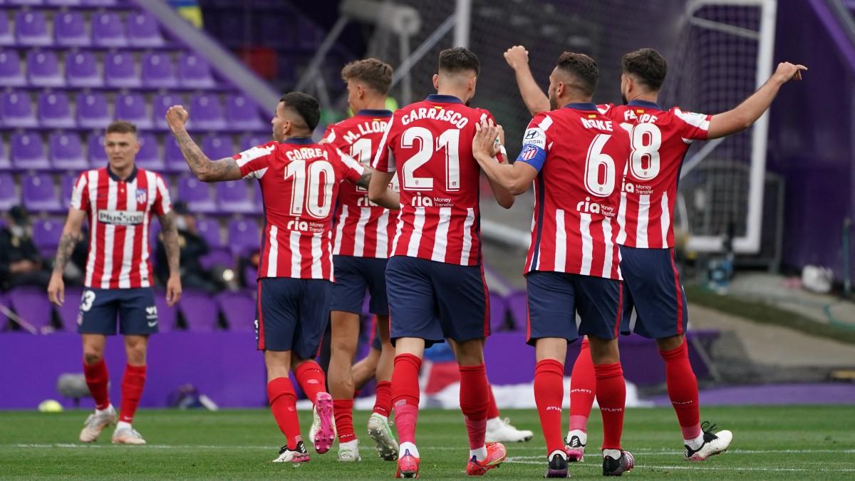 Los jugadores del Atlético celebran un gol. (AFP)