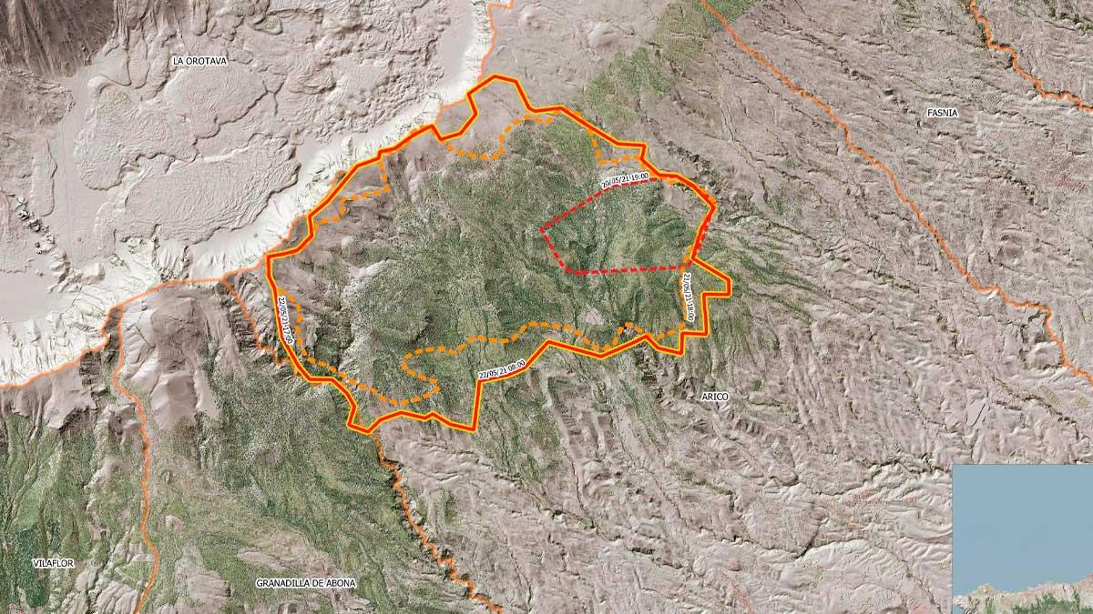 Perímetro del incendio de Arico hasta las 17.00 horas de este sábado. Foto: EP