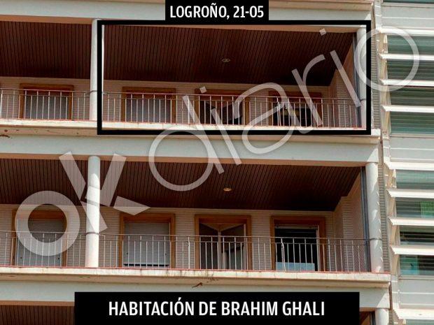 Terraza de la habitación donde está ingresado Brahim Ghali.