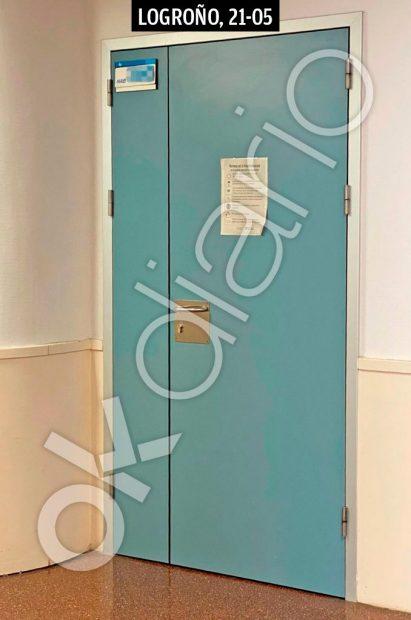 Puerta de la habitación de Brahim Ghali en el hospital San Pedro de Logroño.