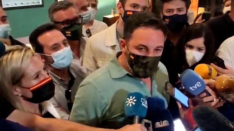 El presidente de Vox, Santiago Abascal, durante la rueda de prensa en Ceuta.