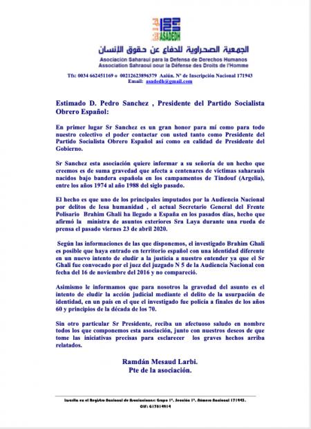 Carta de ASADEDH a Pedro Sánchez.