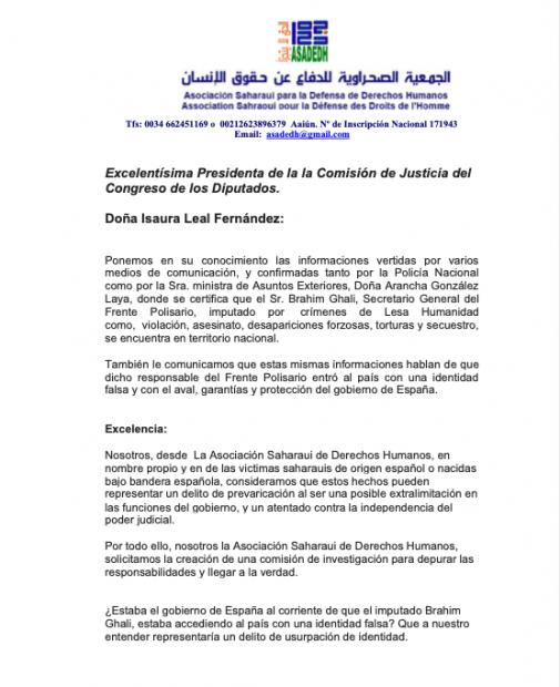 Carta a la Comisión de Justicia