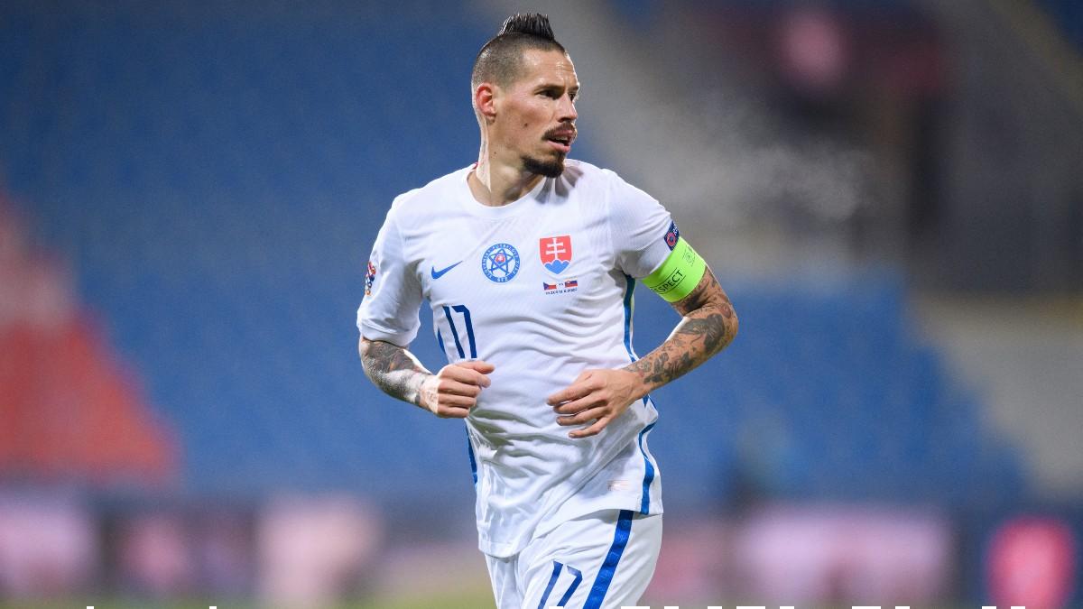 Hamsik, en un partido con Eslovaquia. (AFP)