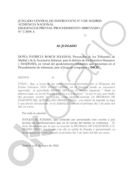 Petición de retirada del pasaporte de Ghali