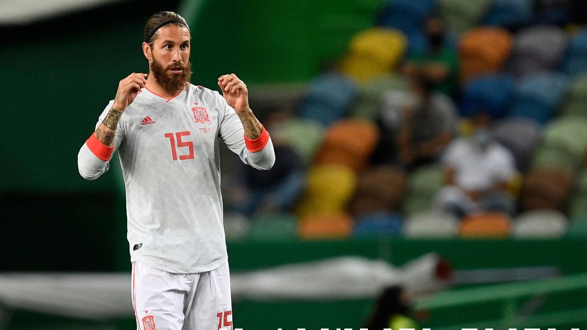 Sergio Ramos, durante un partido con España. (Getty)