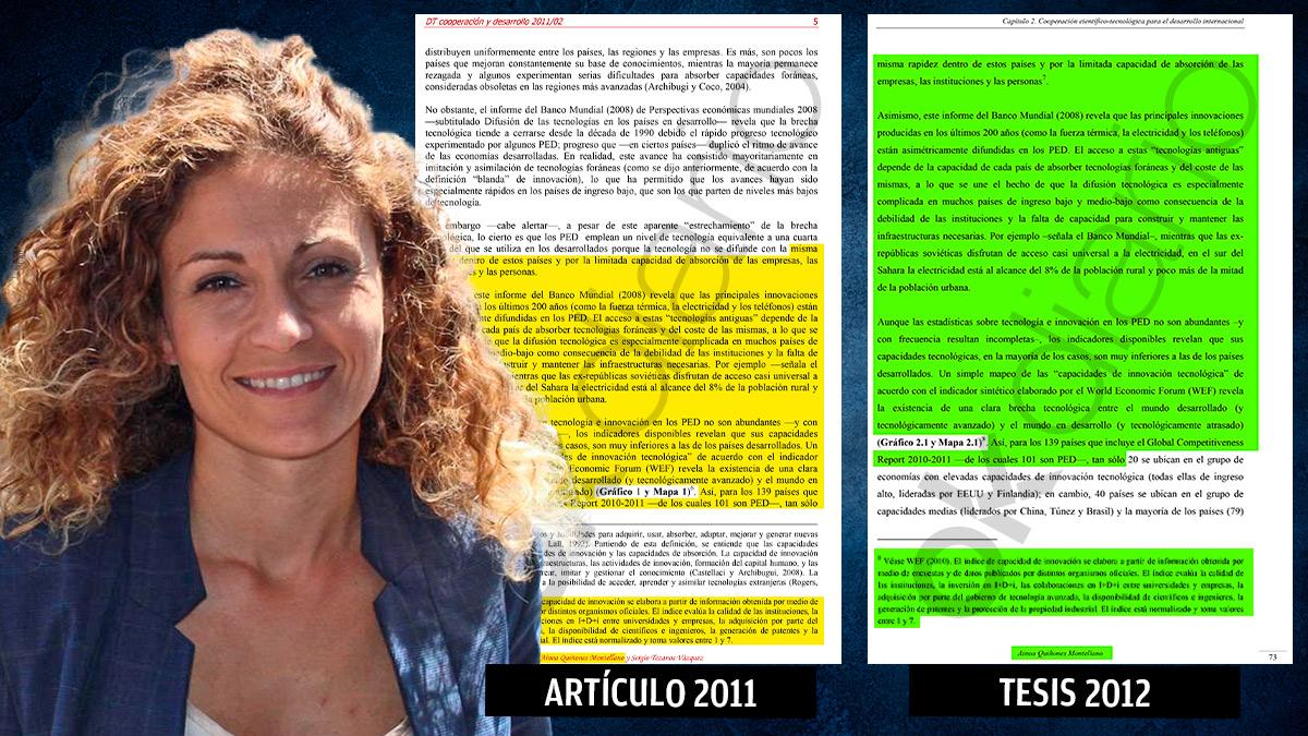 La delegada del Gobierno en Cantabria, Ainoa Quiñones, y su tesis doctoral con el autoplagio.
