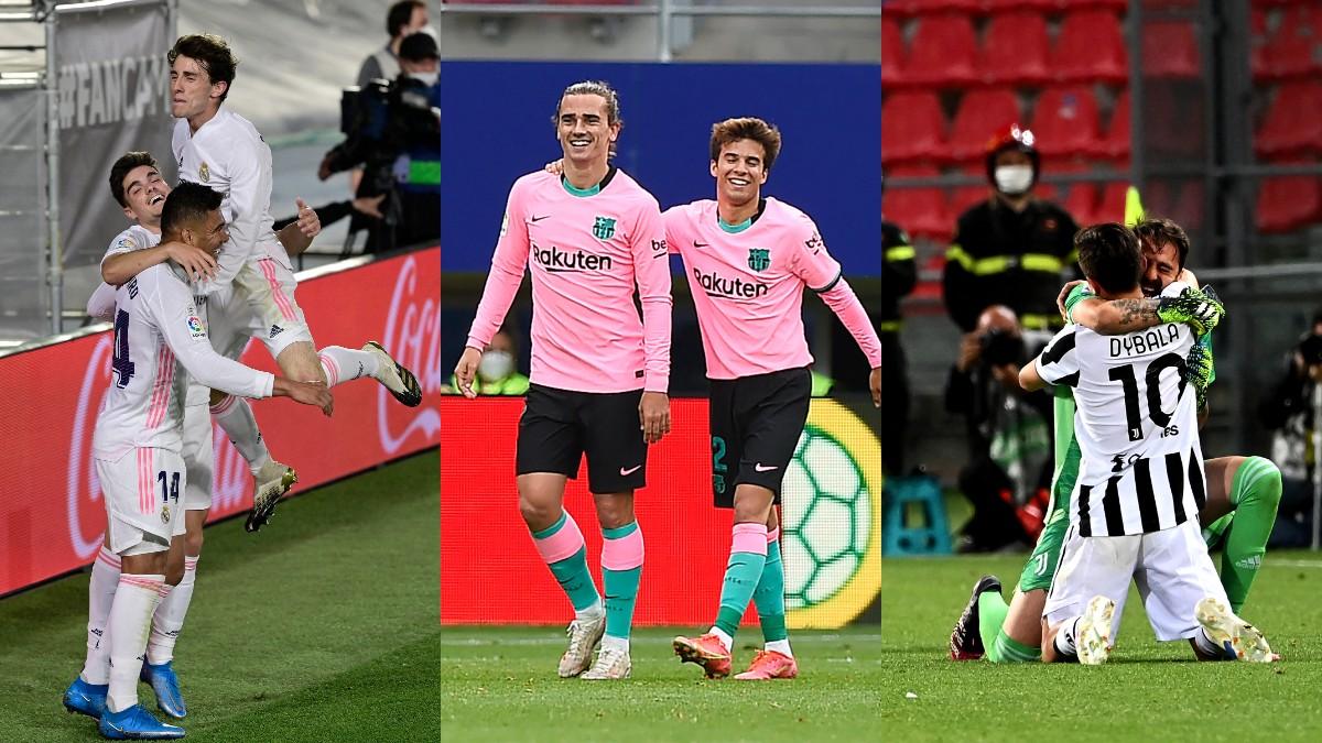 Jugadores de Real Madrid, Barcelona y Juventus celebrando goles (AFP).