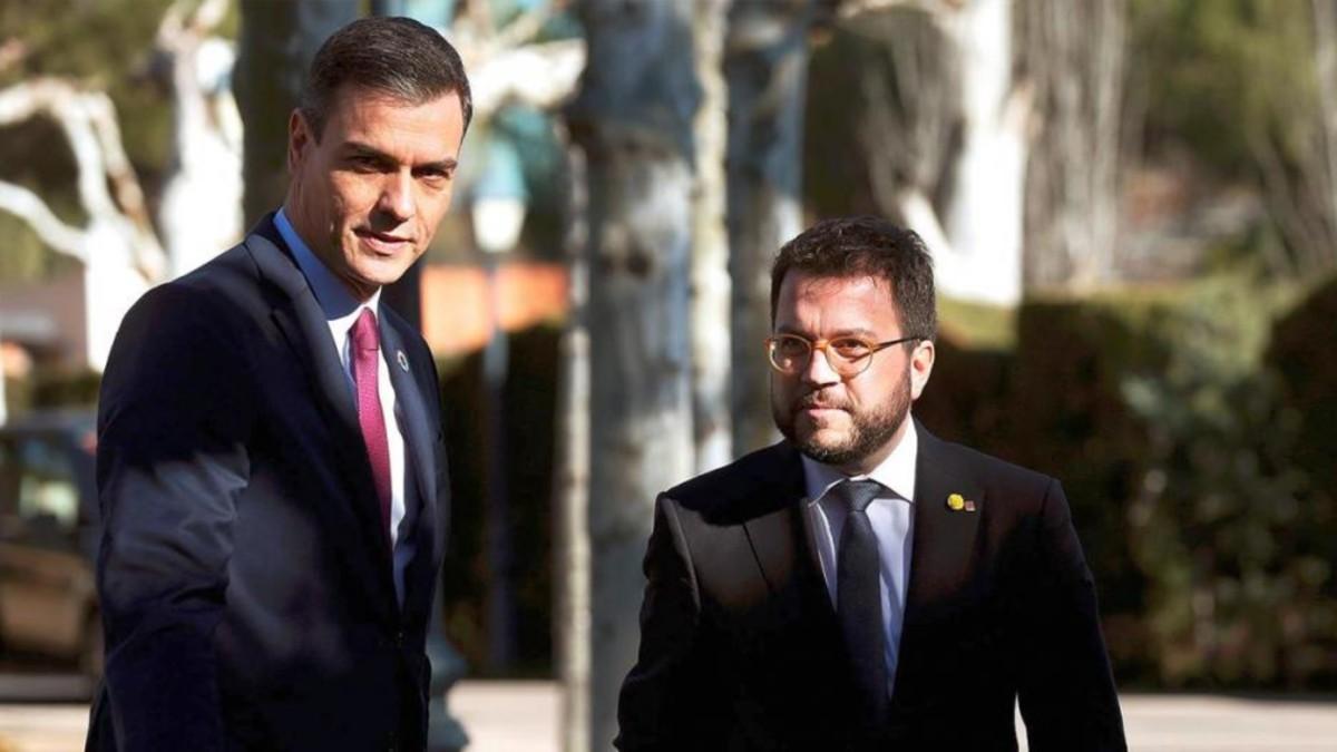 Pedro Sánchez y Pere Aragonès en La Moncloa, en una imagen de archivo. (Foto: EFE)