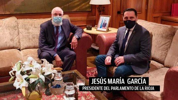 Abdalahe Hamad y Jesús María García, presidente del Parlamento de La Rioja.