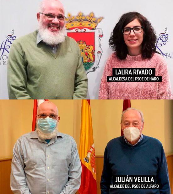 Los alcaldesa socialistas de Haro y X junto con el delegado del Polisario en La Rioja.